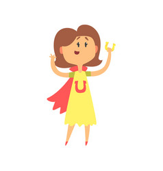cute cartoon woman standing and holding horeshoe vector image