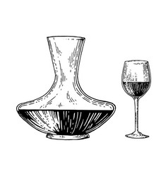 decanter and wine engraving style vector image vector image