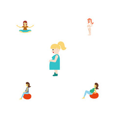 flat icon pregnant set of fitness pregnancy lady vector image vector image