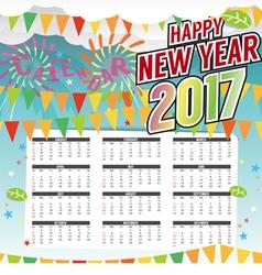 Happy New Year 2017 Printable Calendar vector image