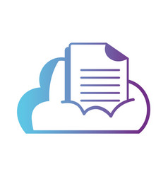 line cloud data with digital document information vector image vector image