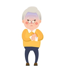 Old Man Chest Pain Cartoon Character vector image