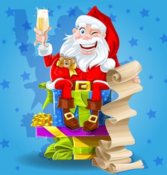 Santa Claus with champagne vector image vector image