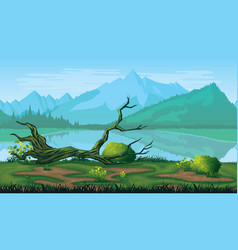 seamless background of landscape with river forest vector image vector image