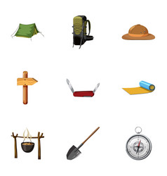 vacation in forest icons set cartoon style vector image