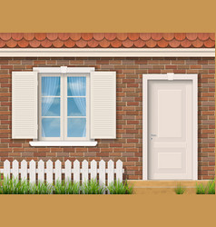 brick facade with a white window and a door vector image vector image