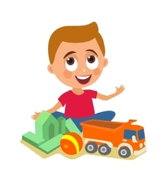 Child plays with toys flat color vector image vector image