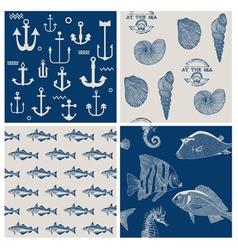 Fish and Marine Background Set vector image