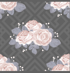 Floral seamless pattern roses with leaves on grey vector
