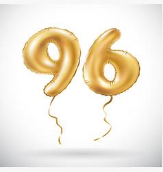 golden number 96 ninety six metallic balloon vector image