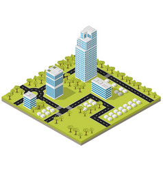 landscape city in isometric vector image
