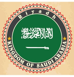 Vintage label cards of Saudi Arabia flag vector image vector image