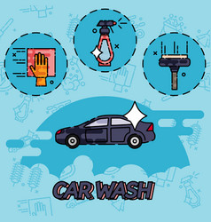 car wash flat concept icons vector image
