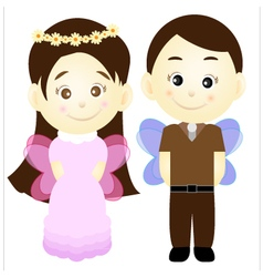 Cute cartoon girl and boy vector image