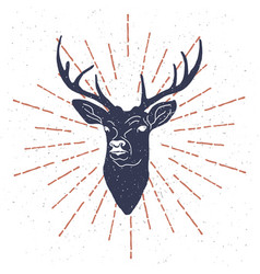 hand drawn vintage label with textured deer vector image vector image