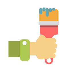 hand holding paintbrush vector image vector image