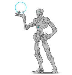 Robot droid iron man vector