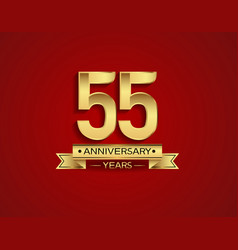 55 years anniversary golden design color vector