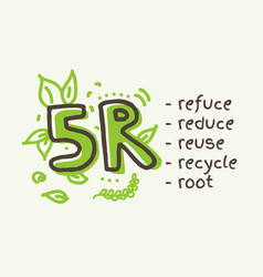 5r concept reduce reuse recycle root refuse vector image
