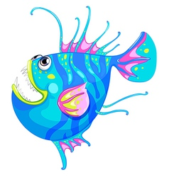 A colorful fish with a big mouth vector image