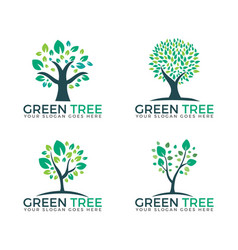 abstract green trees set logo designs vector image