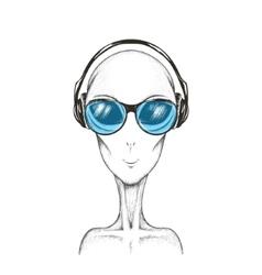 Alien listening a music vector