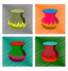 assembly flat shading style icon potion cauldron vector image vector image