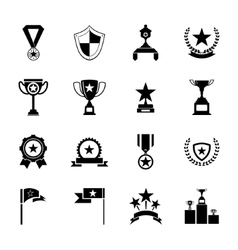 Awards Symbols and Trophy Silhouette Icons Set vector image