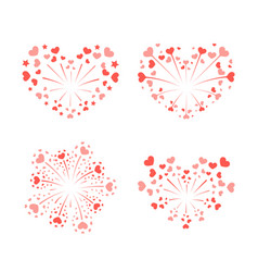 beautiful heart-fireworks set red romantic salute vector image