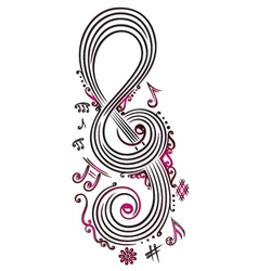 Big clef with music notes vector image