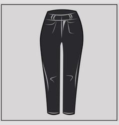 black jeans classic denim oversize fashion vector image