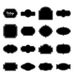 Black vintage labels set frames for design vector
