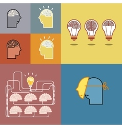 Brain and bulb light vector
