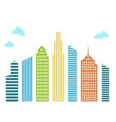 Bright tall houses of lines and stripes with blue vector