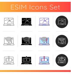 broken computer icons set vector image