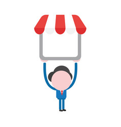 Businessman character holding up shop store vector