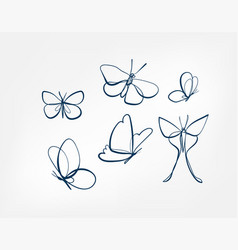 butterfly insect art line isolated doodle vector image