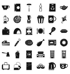 cafe in town icons set simple style vector image