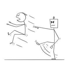 cartoon man kicked out robot or artificial vector image