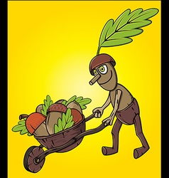 Cartoon oak tree mascot pushing handcart with acco vector