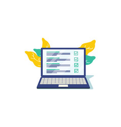 checklist browser window check mark white tick vector image