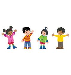 children set of 4 kids smiling boys and girls vector image