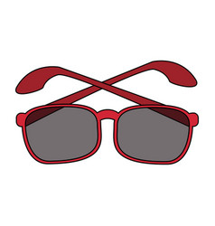 color image cartoon glasses with red contour vector image