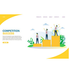 Competition success website landing page vector