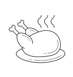 Cooked chicken with steam line icon vector