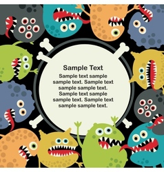 Cute monsters banner vector image