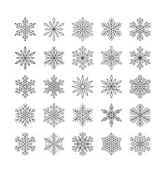 Cute snowflakes collection isolated on white vector