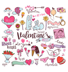 Cute valentine doodles vector