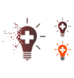 Damaged pixel halftone medical electric lamp icon vector