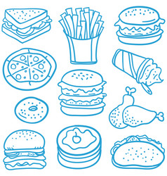 Doodle of fast food various vector
